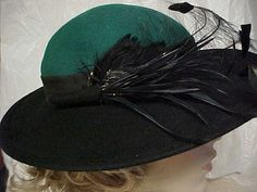 Wool Designer Sylvia hat with black brim and green by designer2, $25.00