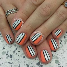Finding nemo, stripes,  orange nails