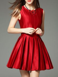 Pleated Cotton-blend Mini Dress