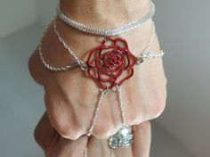 Red Rose Slave Bracelet Ring Made with by TheMysticalOasisGlow, $20.00