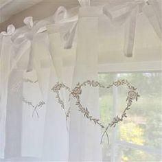 White Heart Voile Tie Curtain