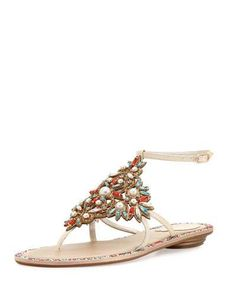 X3C6T Rene Caovilla Crystal & Pearly Ankle-Wrap Thong Sandal, Cream/Red/Aquamarine