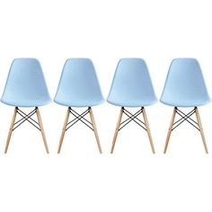 Eames-Style-Side-Chair-Natural-Wood-Legs-Dining-Room-Set-4-Blue-Plastic-Seat-New