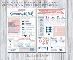 Infographic Wedding Program | Modern, funny and unique 2-sided wedding program infographic printable. These fabulous programs are full of character that will inform, surprise and entertain your guests. Several sizes available for printing as a traditional half-letter-sized program or as large as a poster board for placing on a stand at your wedding. Several color schemes available to match your palette.