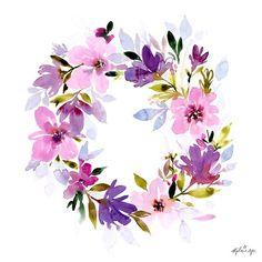 art acuarela Art Print Floral Wreath by stephanieryanart on Etsy Wreath Watercolor, Watercolor Cards, Watercolor Print, Watercolour Painting, Watercolor Flowers, Watercolors, Wreath Drawing, Floral Illustrations, Flower Art