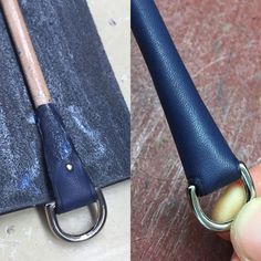 Construction detail for the zipper puller of the 50cm #newey #bag in blue #Barenia #leather. This nice little brass nail helps hold the strap secure but sadly not seen when finished...still nice to know it's there ☺️