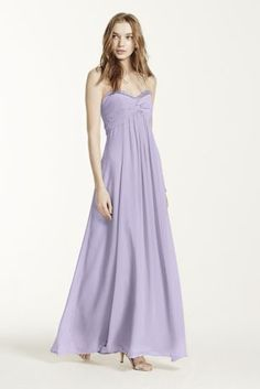 Glamour meets comfort in this dazzling long chiffon dress.  Strapless bodice features eye-catching beading along the sweetheart neckline.  Twist-front bust is flattering and unique.  Empire waist creates an elongated silhouette.  Sheer Chiffon catches the lightbeautifully for a truly radiant look.  Fully lined. Back zip. Imported polyester. Dry clean only.  Also available in Extra Length as Style 4XLF14867.