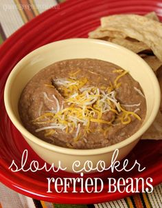 Slow Cooker Crockpot Refried Beans I first madeCrockpot Refried Beanslast year and it was so easy, I haven't bought the canned stuff since! I'm the only person in our house who likes them and if I open a can of refried beans on taco or fajita night,...