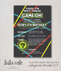 orange and Blue Bowling Invitation Templates by orange and Laser Tag Birthday, Laser Tag Party, 9th Birthday Parties, Birthday Party Invitations, Birthday Ideas, 12th Birthday, Invites, Anniversaire Laser Game, Wild Bachelorette Party