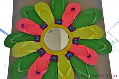 DIY summer wreath for your front door or patio - using flip flops and accents from the dollar store