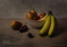 Still life -- cherries pears and bananas