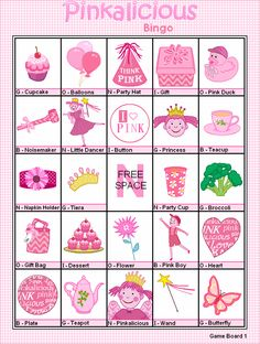 FREE Printable Pinkalicious Bingo - Games at Kid Scraps. I also printed out the calling cards to use as a concentration game - printed 2 of each card I wanted to use. Ballerina Birthday Parties, Barbie Birthday, Tea Party Birthday, Pink Birthday, 4th Birthday Parties, 5th Birthday, Birthday Ideas, Ballerina Party, Princess Birthday