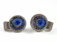 Blue Rhinestone Cufflinks Wrap Around Silver Mesh by VintageGemz