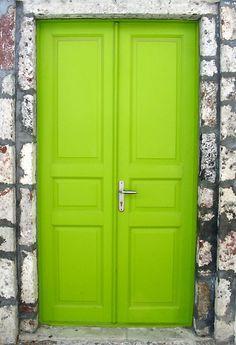 Lime green front door!