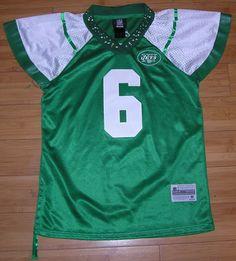 New York Jets Reebok Bling Ruffle Sleeves Mark Sanchez #6 Sewn NFL Jersey Size M #Reebok #NewYorkJets