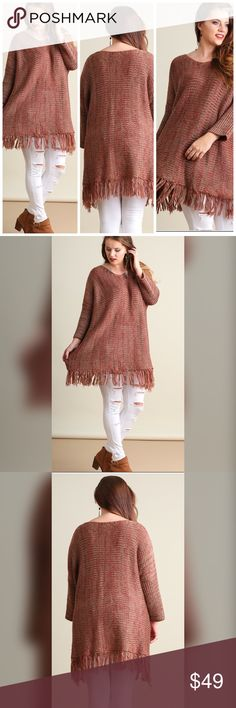 💖💖NEW!!💖💖 Mocha Mix Sweater-Long Knit Throw on Sweater with Fringe Details. Model is 6'0 and is wearing an XL. Sweaters