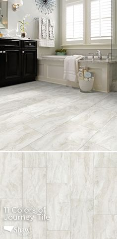 This collection of vinyl stone visuals known as Journey Tile will give stylish options to homeowners who want a grout-able vinyl tile in the latest shapes and colors. The 12x24 shape is perfect for bathrooms and we offer 10 gorgeous colors ranging from rich chocolate, charcoal, and grey to taupe, cream, and white.