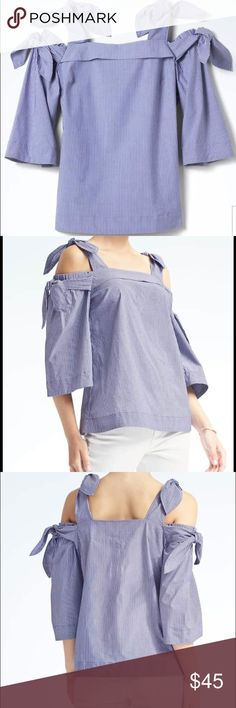 Banana Republic Bow-Shoulder Top This top is adorable!!! However, I never got around to wearing it and it is now too big for me! Tags are still attached. Size is Small. It has bows at shoulders and sleeves. Three-quarter length sleeve. It's honestly perfect! If you have any questions, please let me know!! Happy poshing! Banana Republic Tops