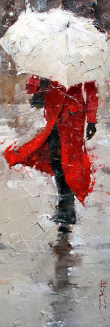 "Artist: Andre Kohn (Note: The paint technique itself, as opposed to simply painting the ""rain"", makes it appear as though there's a gusty storm. I thought this was a still from film where the lens had gotten seriously wet-over! Umbrella Art, White Umbrella, Beautiful Paintings, Painting Techniques, Love Art, Painting Inspiration, Painting & Drawing, Amazing Art, Art Drawings"