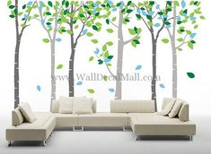 Colorful Leaves Birch Forest Wall Decals – WallDecalMall.com