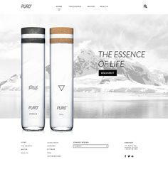 Branding and Web Design for premium concept bottled water brand Puro. First place in the first Athens Designathon, a speed day- design challenge. Water Packaging, Water Branding, Bottle Packaging, Label Design, Packaging Design, Branding Design, Graphic Design, Creative Web Design, Water Bottle Design