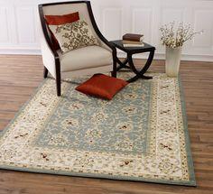Queen Teal/Beige Traditional Persian Area Rug