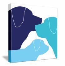 dog family by www.avalisa.com #dogs #blue #canvas #art #nursery #decoration #WallArt