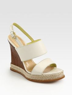 2500404ef7efb Pollini - Leather Slingback Espadrille Wedge Sandals