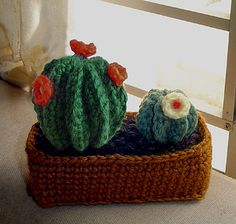 """This crochet Cactus garden is approx. 5"""" tall and 5"""" wide."""