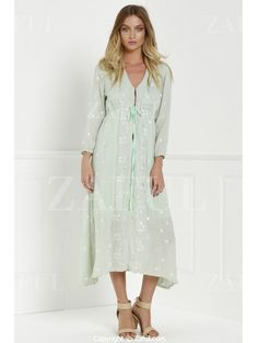 V Neck Floral Embroidery Half Sleeve Dress SAGE GREEN: Print Dresses | ZAFUL