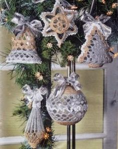 Crochet Christmas ornaments s ♥LCC-MRS♥ with diagrams. Crochet Christmas Ornaments, Christmas Crochet Patterns, Holiday Crochet, Crochet Snowflakes, Christmas Bells, Christmas Angels, Christmas Tree Ornaments, Christmas Decorations, Angel Ornaments