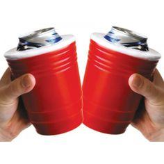 Red solo cup (koozie)! I fill you up! Let's have a party! Let's have a party!