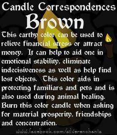 Brown Candle Correspondence Magick Spells, Candle Spells, Candle Magic, Pagan Witch, Witches, Brown Candles, Candle Reading, Wiccan Spell Book, Witchcraft For Beginners