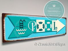 Vintage Style Pool Sign – UV Protected Weatherproof Signs Suitable for Outdoor or Indoor Use – Exclusively from Classic Metal Signs