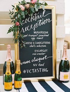 Cocktail hour can look chic with a chalkboard calligraphy display in a gold frame! Calligrapher: Laura Hooper Calligraphy