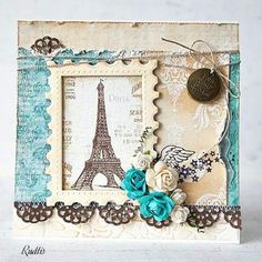 love, life and crafts Rudlis Scrapbook Images, Scrapbook Cards, Scrapbooking, Handmade Birthday Cards, Greeting Cards Handmade, Vintage Cards, Vintage Paper, Paris Cards, Shabby Chic Cards