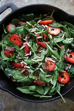 Hot Spinach and Strawberry Salad with Bacon by Heather Christo, via ...