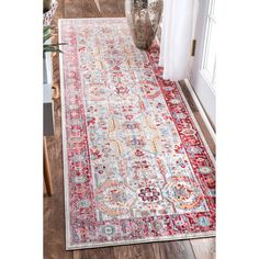 nuLOOM Traditional Vintage Inspired Red Runner Rug (2'6 x 8')