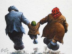 Thats Our Boy Original by Alexander Millar *SOLD* - The Acorn Gallery - Beautiful and Unique Artwork Art Uk, Naive Art, Types Of Art, Original Image, Comic Art, Men Dress, Product Launch, Family Kids, The Originals