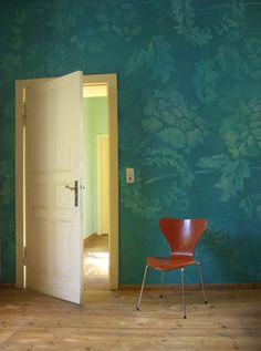 Large Graphics on Wall, Rich Deep Color Peacock Blue Bedroom, Teal Rooms, Accent Wall Colors, Interior And Exterior, Interior Design, Teenage Room, Mural Wall Art, Wall Treatments, Wall Design