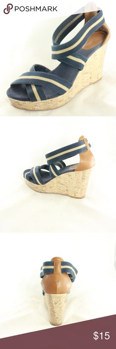 MERONA Navy Cream Canvas strappy Open Wedges Nice and stretchy straps with comfortable lining that hugs your foot. Easy to wear, beachy summer vibe. Cute and simple. No issues anywhere. Size 9 M (medium width) Merona Shoes Wedges