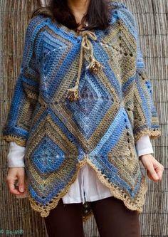 Blue Bom poncho front