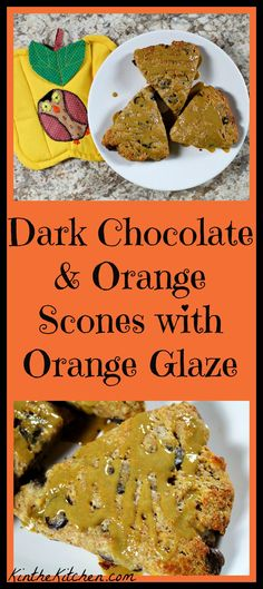 Containing dark chocolate chips and a hint of orange zest, these flavorful scones are made with whole wheat and almond flours, sweetened with whole cane sugar, and are topped with an orange glaze.