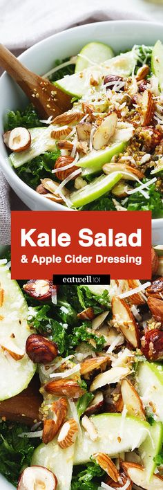 Kale Salad with Apple Almond Hazelnut & Apple Cider Paleo Diet. If you decide to slow down after the calorie overload of the Holidays, still make sure you f Salad Recipes Gluten Free, Kale Salad Recipes, Vegetable Recipes, Vegetarian Recipes, Lunch Recipes, Whole30, Easy Healthy Dinners, Easy Healthy Recipes, Dieta Paleo