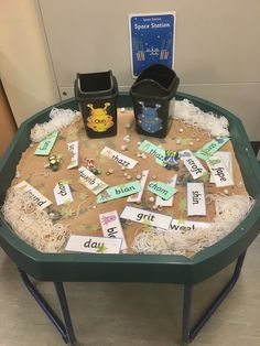 Obb and Bob phonics tuff tray. Great resource to help children blend and segments sounds in Year 1 ready for the phonics screening check! Phonics Games Year 1, Abc Phonics, Phonics Reading, Jolly Phonics, Teaching Phonics, Phonics Activities, Teaching Resources, Literacy Year 1, Year 1 Maths