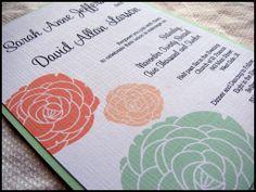Convites de casamento cor coral e verde menta