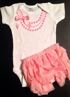 Easter set Cute baby girl gift fashion Necklace one piece / bodysuit with pink lace baby bloomers pink necklace