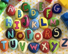 Produce Pals Painted Rocks --Fruit and Vegetable Smiley Faces Story Stones-- Toy & Play Set-- Party Favors, Kids Gift Rainbow Loom, Small Alphabets, Painted Rocks, Hand Painted, Story Stones, Rainbow Painting, Rock Painting Designs, Learning The Alphabet, Kid Party Favors