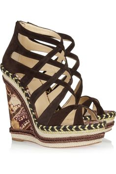 christian louboutin tribuli 140 chain trimmed leather wedge sandals