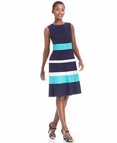 Anne Klein Sleeveless Colorblock Dress - Dresses - Women - Macy's